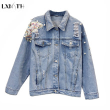 2019 Spring Korean Fashion Women Jeans Jacket Denim Jackets Pearls Beading Kpop Jeans Coat Loose Long Sleeve Ripped Jackets(China)