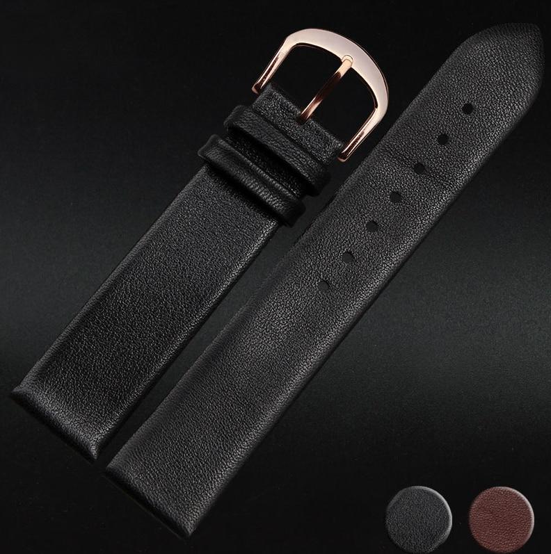 12mm 14mm 16mm 18mm 20mm 22mm New Smooth Black Genuine Leather Watch Bands Strap Bracelets Rose