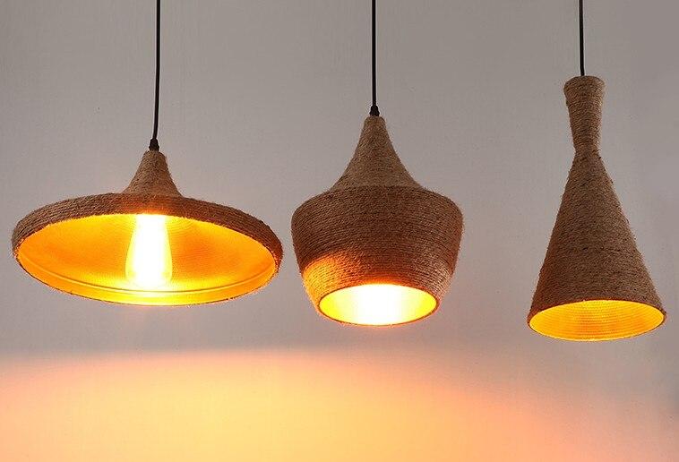 Веревка Винтаж подвесные светильники Лофт avize Nordic hanglamp Ресторан Кухня Свет Подвеска светильник домашнего промышленного освещения