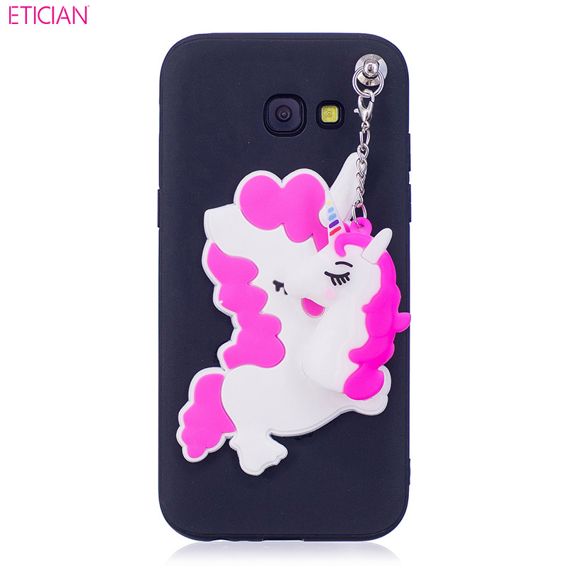 Etician Cute Unicorn Protection Case for Samsung Galaxy A3 2017 Soft Silicone Cover for Samsung A3 Phone Accessory Black