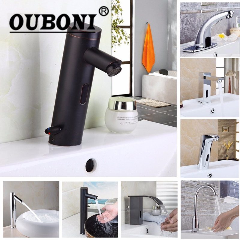 все цены на OUBONI Basin Faucet Torneira Automatic Hands Touch Sensor Faucets Bathroom Brass Sink Chrome Faucets Mixers & Taps Water Mixer