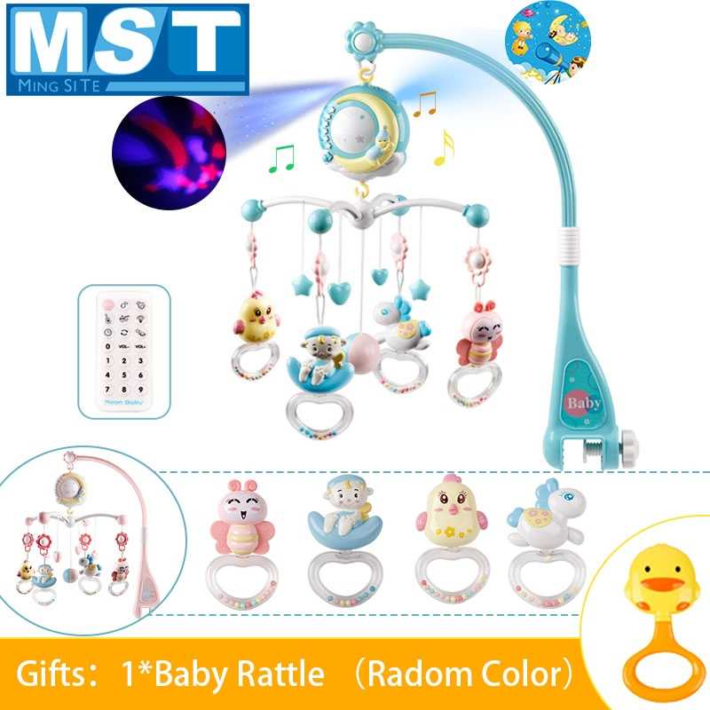 Baby Hanging Rattles Mobiles Toy Holder Rotating Crib Bed Bell With Music Box Projection For 0-12 Months Newborn Infant