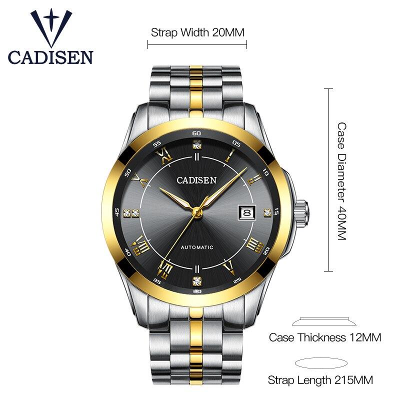 CADISEN Top marque hommes affaires montre mécanique automatique Date étanche horloge hommes en acier inoxydable montre-bracelet Relogio Masculino - 3