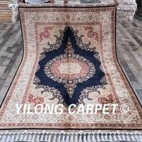 Yilong 5.6'x8.3' Double Knots Handmade Kashmir Silk Turkish Rugs For Sale(CQG20A5.6x8.3)