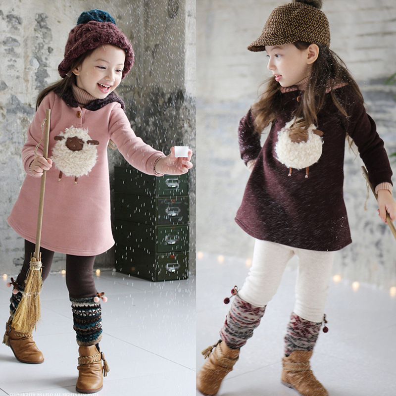 Autumn winter Thick with velvet girls dress thick sheep pattern Fashion hat girl Dresses Warm Fleece School Children clothes hot skullies beanies winter hat pom pom caps unicorn letter for women girl vintage warm spring autumn hat female woct4