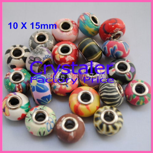 50pcs/Lot, Free Shipping Good Quality Assorted Colors 10*15mm Europe Big Hole Polymer Clay Beads