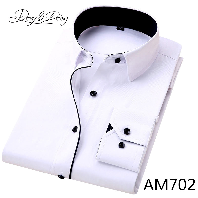 DAVYDAISY High Quality Men Shirt Long Sleeve Twill Solid Formal Business Shirt Brand Man Dress Shirts DS085 14