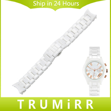 Curved Finish Full Ceramic Watchband 18mm 22mm for Armani AR Males Girls Watch Band Wrist Strap Bracelet Black White + Hyperlink Remover