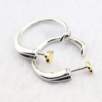 100% Sterling Silver Jewelry Two Hearts Hoop Earring with 14K Real Gold 100% 925 Silver Jewelry for Women Free Shipping