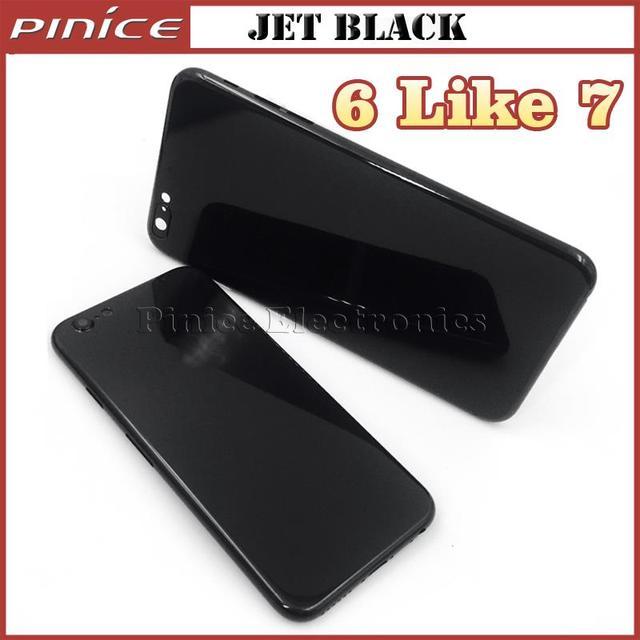 Mate negro jet negro carcasa para iphone 6 6 s 6 plus 6 s además como 7 estilo cubierta de la caja de aluminio del metal puerta de la batería reemplazo
