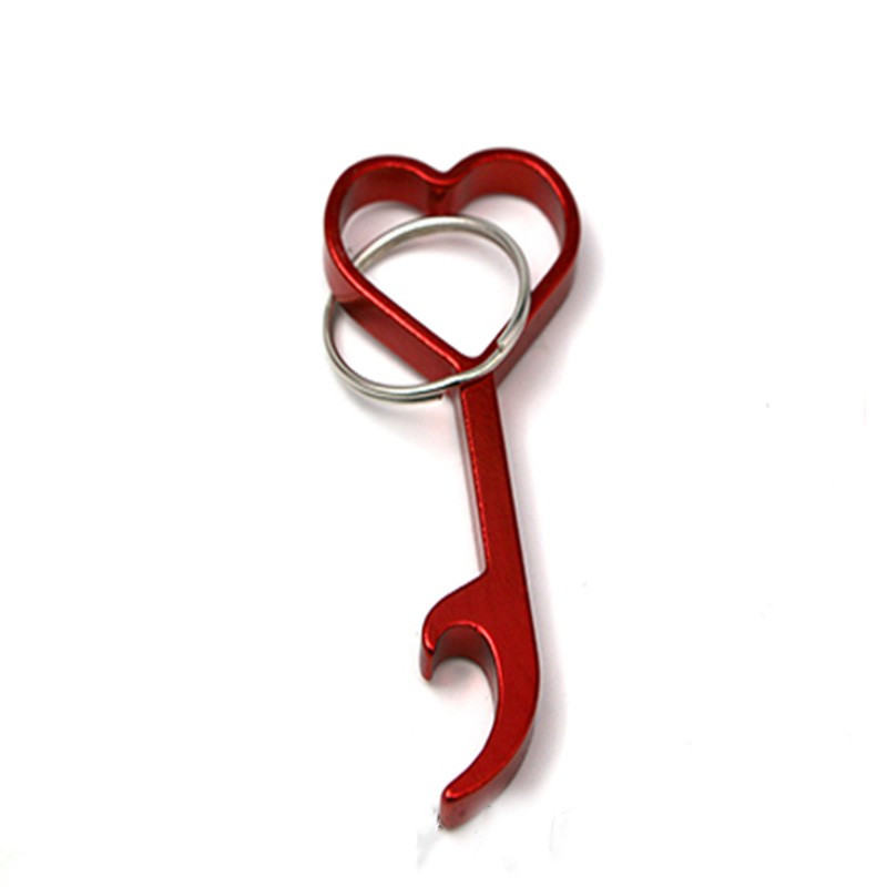 Love Heart Shaped Bottle Wine Beer Opener Cute Keyring Keychain Key Chain Portable Durable Outdoor EDC Multi Tool