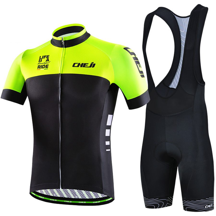 Cycling Jersey Cheji Racing Sport Bike Jersey Ropa Ciclismo Short Sleeve Tops And Padded (Bib) Shorts Qucik-Dry Set Quick-Dry physics education