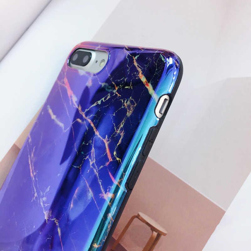 UBERAY lüks kılıf mermer kapak iphone XS için Max XR 7 8 artı telefon kılıfları yumuşak silikon Coque çift vaka moda hediye damla durumda