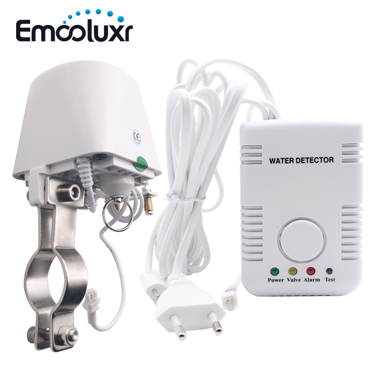 Water Leak Alarm Water Sensor Detector Smart Home Security Alarm System w DN15 Manipulator Valve & Sensitive Water Probe Sensor fuers 433mhz wireless water intrusion detector water leak sensor work with gsm pstn sms home security water leak detector