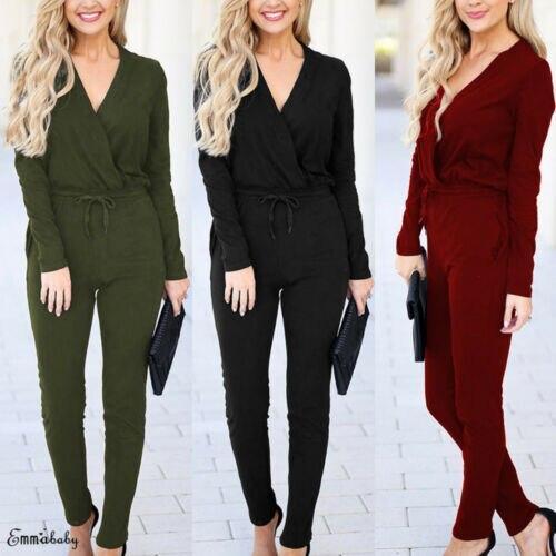 Women Sexy Jumpsuit V Neck Wrap Playsuit Top Pockets Catsuit Office Clothes Plus