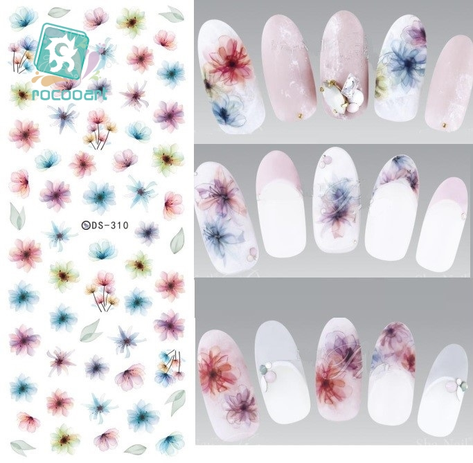 Rocooart DS310 Water Transfer Nails Art Sticker Harajuku Elements Color Fantacy blurred Flower Nail Wraps Sticker Manicura Decal ds311 new design water transfer nails art sticker harajuku elements colorful water drops nail wraps sticker manicura decal