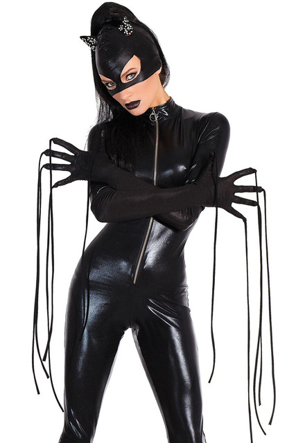 1bf2fab79c5 Mask Gloves Black Long Sleeve Faux Leather Catwomen Sexy Latex Jumpsuit  Costume PVC Fetish Wet Look Halloween Catsuit Costume