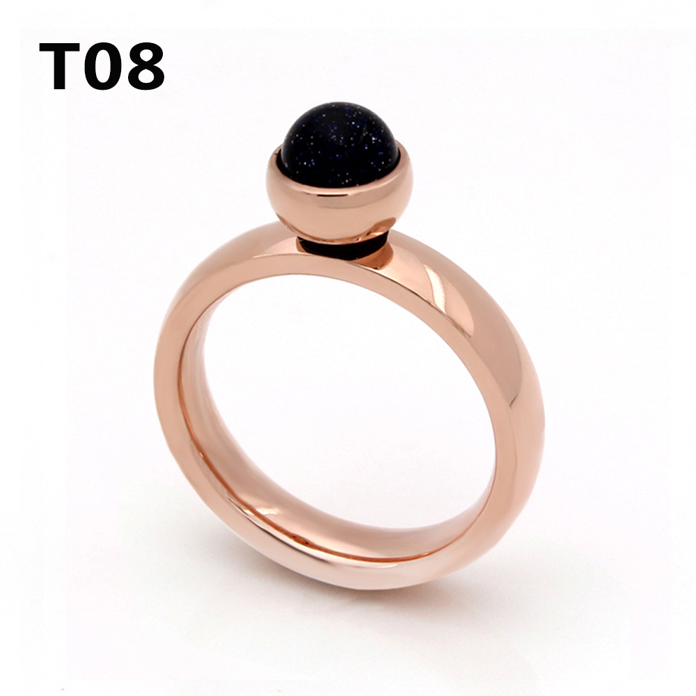 Newest Luxury Stainless Steel Plated Rose Gold Big Crystal Ring For Wedding Promotion Can't Move T08