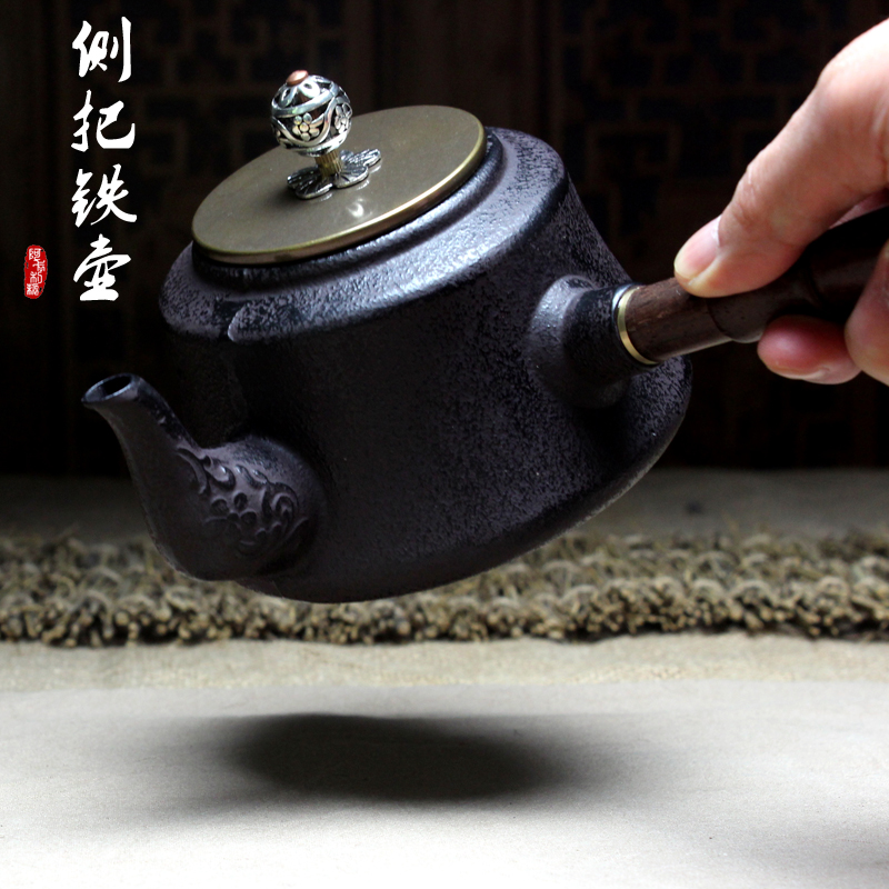 Cast iron pot of side Ebony side put the cooking pot wooden Japanese tea glass teapot