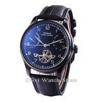 Parnis 43mm balck mostrador Azul Relógio dos homens caixa de aço inoxidável movimento Automático Energia de Reserva|watch men|watch men watch|watch watch -
