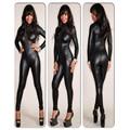 Sexy Gothic Cremallera Serpiente Kin Imprimir Lame Negro Body de Malla Del Club W373565 Cuero Vinilo Catsuit Mono Corto Traje de Manga Larga