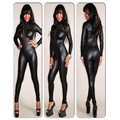 Sexy Gothic Zipper Snake Kin Print Lame Black Bodysuit Club Mesh Long Sleeve Vinyl Leather Catsuit Playsuit Costume W373565