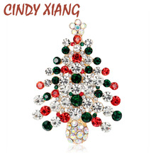New Arrival Chriatmas Tree Brooches High Quality Zinc Alloy and Gold Plated Inlay Full Rhinestone Crystal for Women Pins
