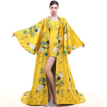 Yellow Chinese Evening Dress Long Woman Summer Traditional Cheongsam Vestidos Orientales Formal Fashion Week Stage Show Clothing