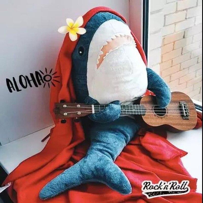 Juguete de felpa de tiburón de gran tamaño 80/100 CM suave peluche speelgoed Animal almohada de lectura para regalos de cumpleaños cojín de regalo para los niños