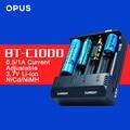 Opus originais BT-C1000 Li-ion NiCd NiMh Carregador de Bateria Digital Inteligente 4 Slots 18650 17500 14500 16340 RCR123 Frete Grátis