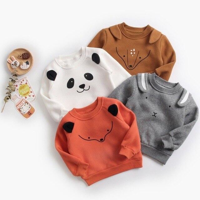ילד תינוק חולצות תינוק בנות נים סתיו אביב חורף בעלי החיים צמר ארוך שרוול חולצות ילדים בגדי תינוקות חולצה