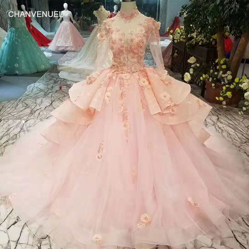 LSS262 pink girls pageant dresses high neck long tulle sleeves evening dresses long ball gown celebration party dresses 2019