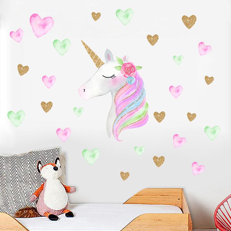 HOT Fantasy Unicorn Stars Rainbow Wall Sticker Girls Bedroom Wall Decal Art  Decal DIY Nursery Home Decor Removable Wall Stickers Removable Wall ...