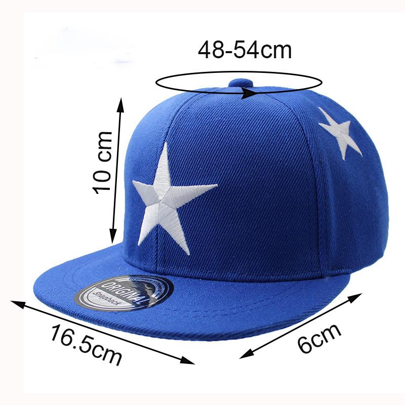 Embroidered Star Children's Snapback Cap - Measurements
