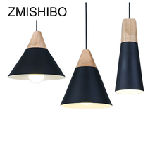 ZMISHIBO Modern Wooden Pendant Lights Aluminum Lampshade European Simple Style Decoration Lamp Luminaire For Dining Room