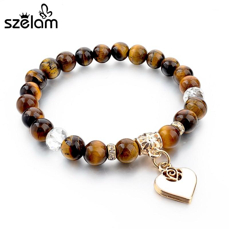 Szelam Bijoux Brown Pulsera de piedra natural para mujeres Pulseras con dijes de corazón Brazaletes Pulseiras Femininas Boho Jewelry SBR150344