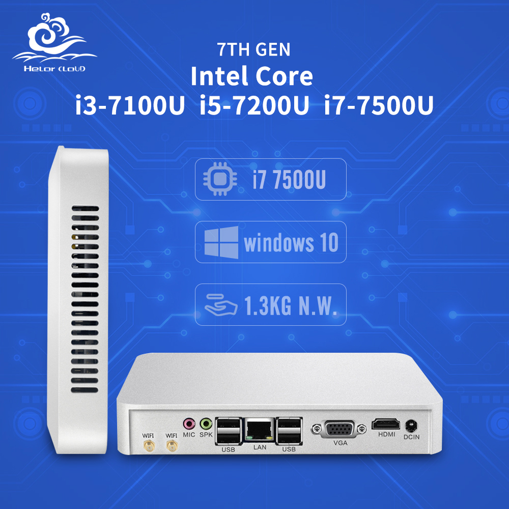 Mini PC Core CPU Gen 7th i3 7100U i5 7200U i7 7500U Windows 10 4K HD Celeron N3160 Mini Compute Desktops 8GB RAM HDMI 6*USB цена 2017