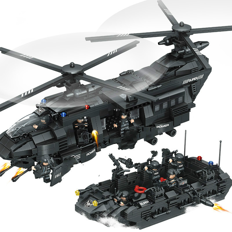 1351pcs Military Swat Team Model Building Blocks Transport Helicopter Compatible Lepins & Enlighten Bricks Children Figures Toys enlighten building blocks military cruiser model building blocks girls