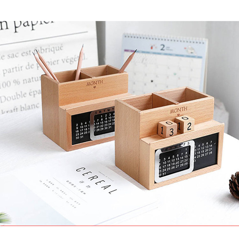 цена Wooden Pen Container Multifunctional Pen Holder as Perpetual Calendar