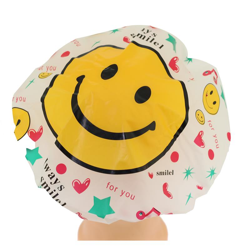 2Pcs Waterproof Bath Shower Cute Cartoon Smiley Face Women Hat Bathroom Accessories Bathing Cap Spa