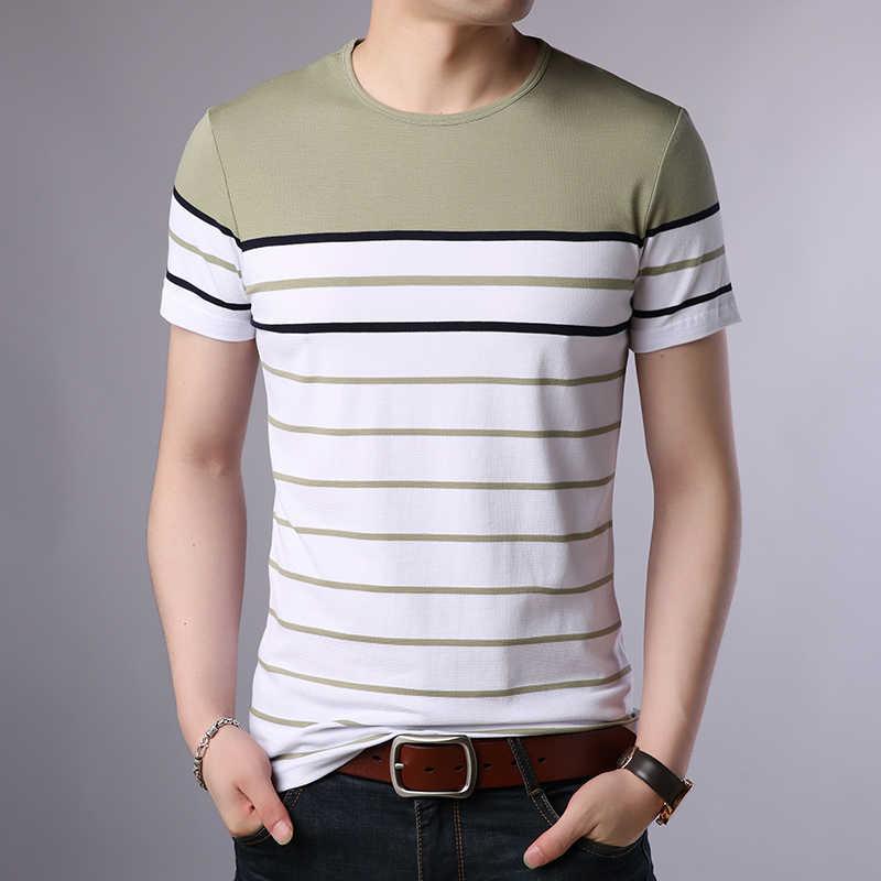 2019 nowych moda marka T Shirt mężczyźni O Neck paski letnie trendy Streetwear topy bawełna koreański koszulka z krótkim rękawem odzież męska