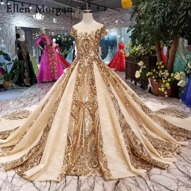 Gold Lace Ball Gowns Wedding Dresses 2019 Boat Neck Chapel Train Real  Photos Glitter Custom Made 96733465cf64