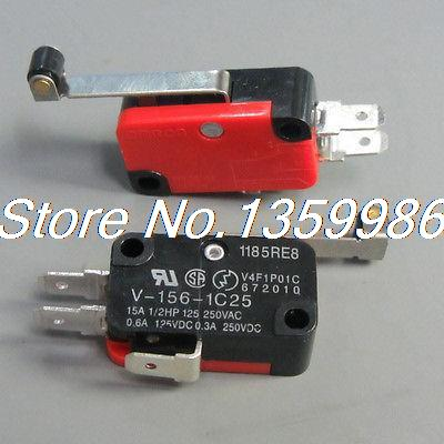 100pcs V-156-1C25 Long Hinge Roller Lever AC DC Micro Switch 100pcs v 152 1c25 straight hinge lever ac dc micro switch