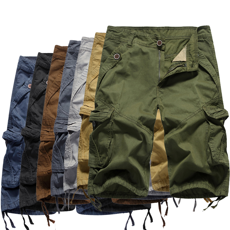 2020 New Shorts Men Summer Hot Sale Cool Design Solid Cargo Shorts Homme 100% Cotton Quality Soft Fashion Brand Clothing 30-40
