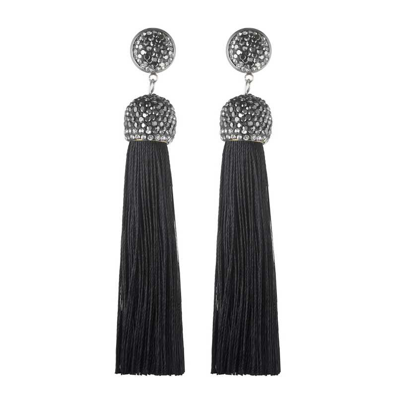 LOVBEAFAS Statement Long Black Tassel Earrings For Women Red Pink White Blue Purple Fringe Crystal Drop Wedding Earrings Jewelry