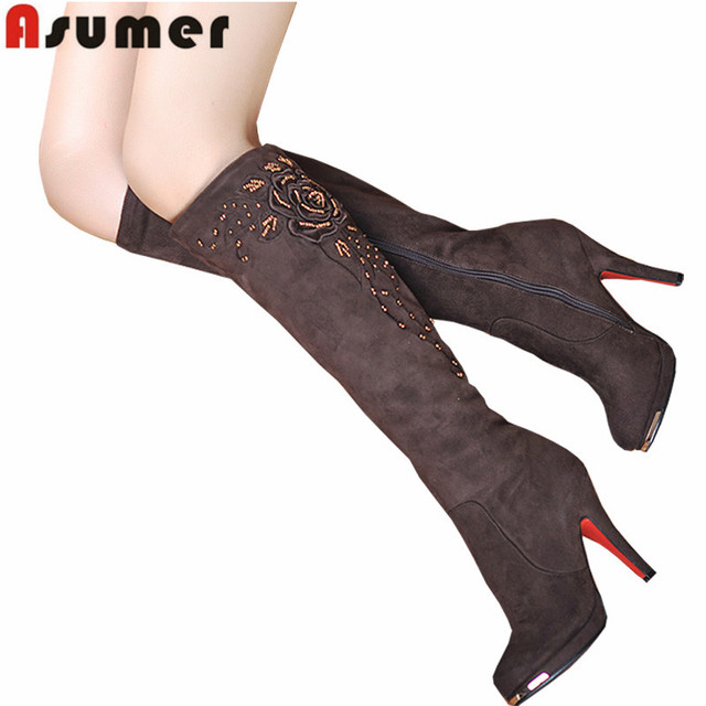 ASUMER 2017 new fashion boots sexy lady shoes high heels knee high boots flock beading women's snow winter long motorcycle boots