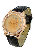 Champagne Dial Owl Women's Crystals Decorated Quartz Wrist Watch Black Band