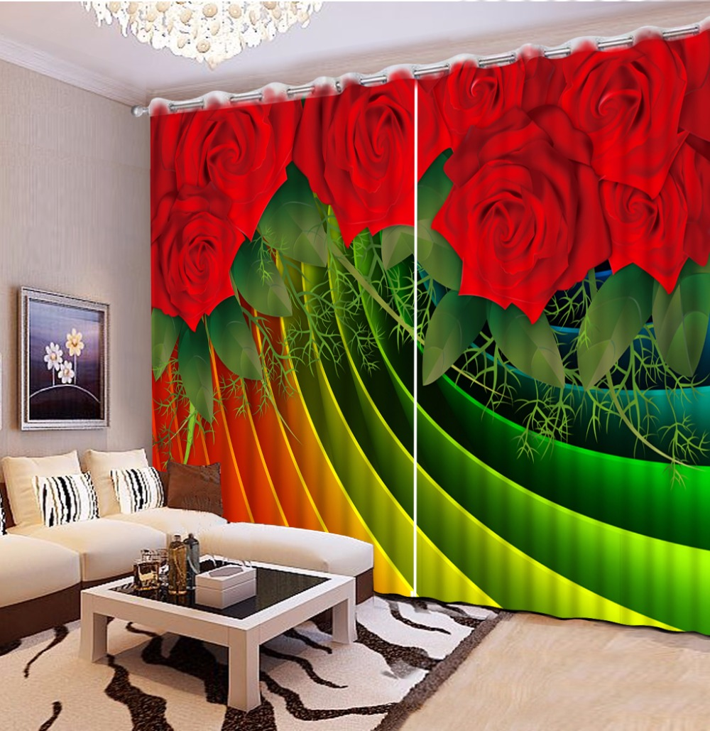 3D Curtain Photo Custom Size Green Leaf Rose Colored Strips Curtains For Bedroom Blackout Curtains For Living Room Decorative 3D Curtain Photo Custom Size Green Leaf Rose Colored Strips Curtains For Bedroom Blackout Curtains For Living Room Decorative