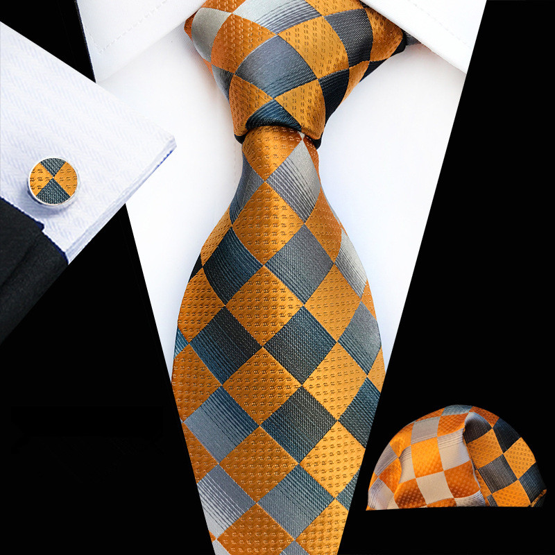 New Designer Gold Gray Mens Ties 100% Silk Plaid Print Pattern Casual Style Ties Set Suit Wedding Patry Drop Shipping