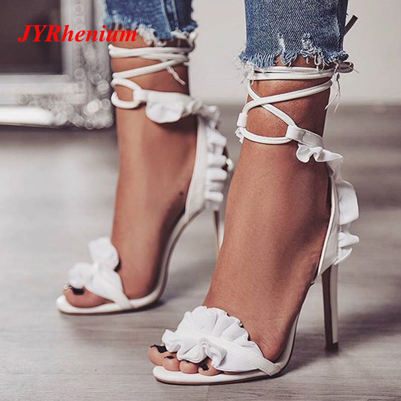 JYRhenium 2018 New Plus Size 35-40 Women Pumps Shallow Thin High Heels Lady Shoes Brand Elegant Flower Lace Design Footwear elegant lady lace flower and fascinator veil design banquet party black cocktails hat